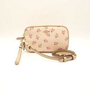 NWT COACH Floral Bloom Crossbody Wristlet Leather
